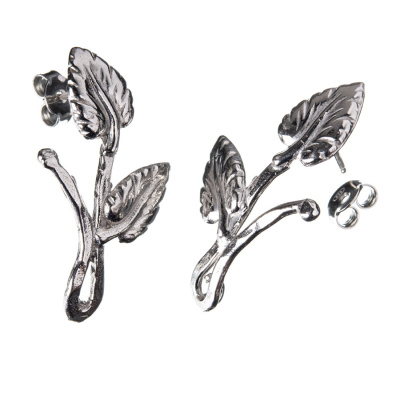 Orecchino a farfallina in Argento 925 - Foglie  3.3 x 1.8 cm - 2 pz.