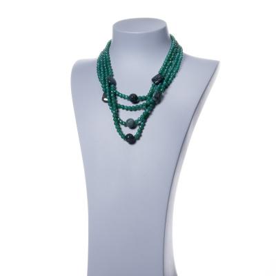 Collana in Agata Verde, Agata Muschiata e Argento 925