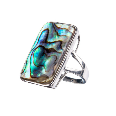 Anello in Madreperla Abalone e Ottone