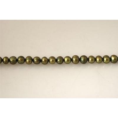 Filo di Perle Verde oliva colorate 8 - 9 mm