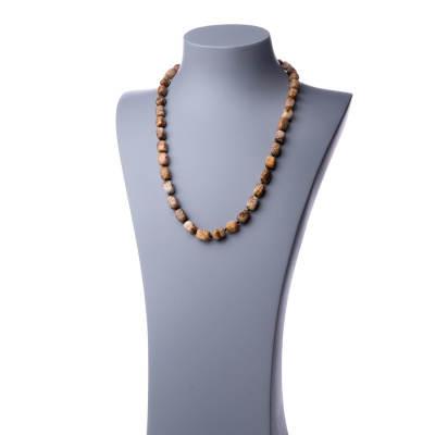 Collana Lunga di Pietra Paesina burattata - 60 cm