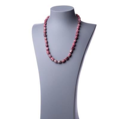 Collana lunga in Rodonite e Argento - 60 cm