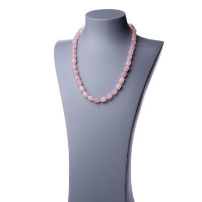 Collana lunga in Quarzo Rosa e Argento - 60 cm