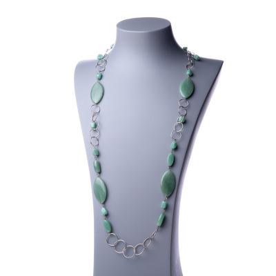 Collana Lunga in Avventurina Verde e Argento 925