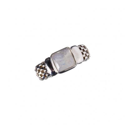 Anello in Opale Crystal e Argento 925 a maglia