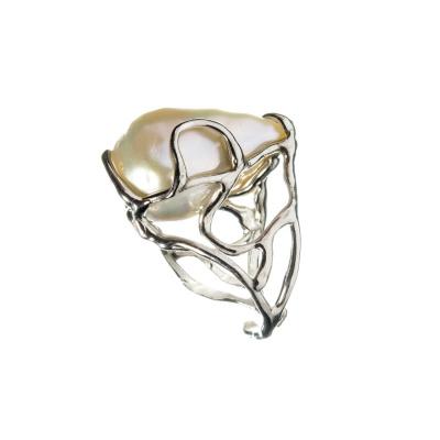 Anello con Perla Barocca e Argento 925