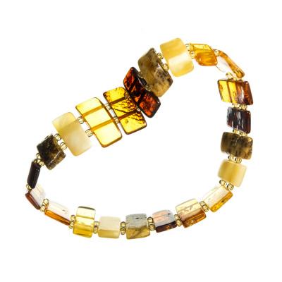 Bracciale elastico ad Elementi rettangolari in Ambra