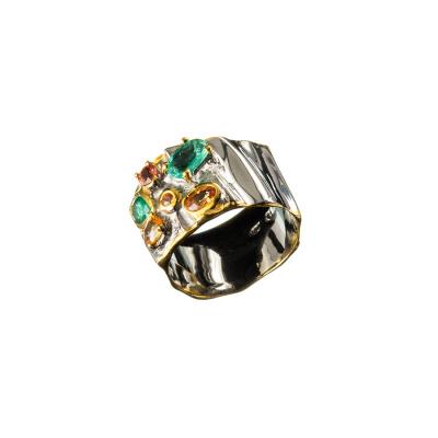 Anello con Smeraldi e Zaffiri in Argento 925
