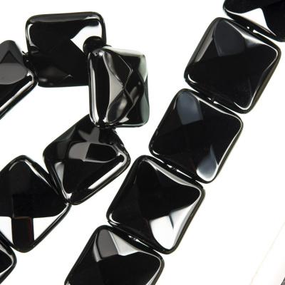Onice Nera - Filo di elementi quadrati sfaccettati