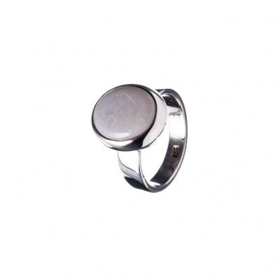 Anello con cabochon ovale di Opale Arlecchino e Argento 925