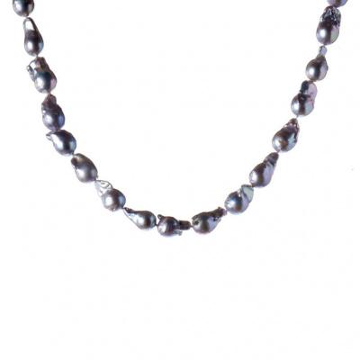 Collana di Perle Barocche Grigie Australiane e Argento 925