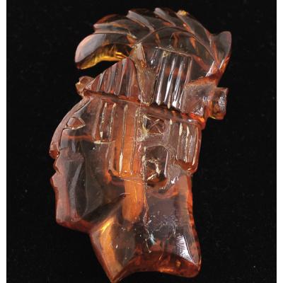Ambra Cognac Messicana - Testa di Indiano Maya - 3.2x6.5x1.7