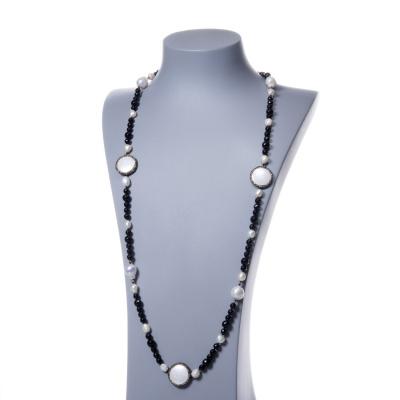 Collana in Agata Nera, Perle e Madreperla