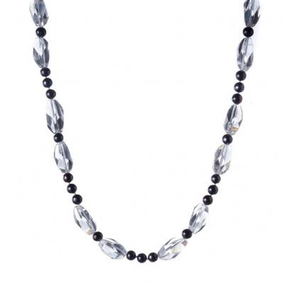 Collana di Cristallo di Rocca, Perle Nere e Argento 925