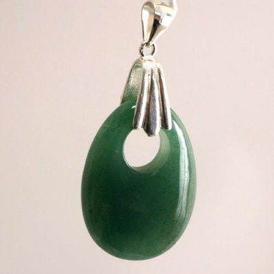 Ciondolo Ovale in Avventurina Verde levigata e Ag 925