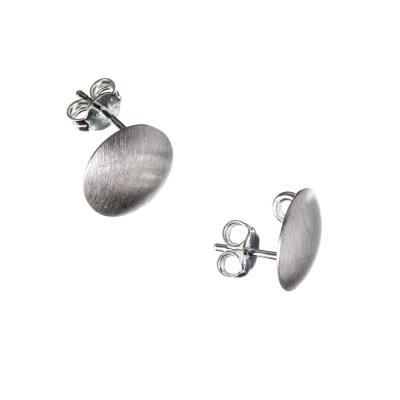 Orecchino a farfallina in Argento 925 - ovale liscio 1 x 0.7 cm - 2 pz.