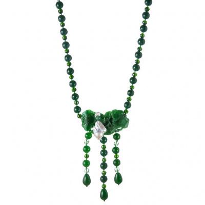 Collana di Giada Verde e Perla Barocca