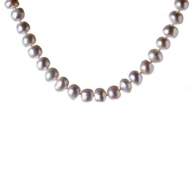 Collana di Perle Bianche Irregolari e Argento 925
