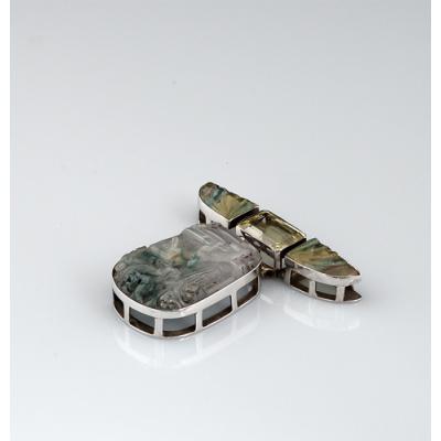 Ciondolo in Fluorite, Quarzo Citrino e Ag 925