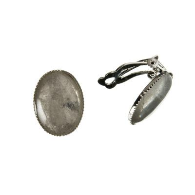 Orecchini Ovali a clip in Cristallo di Ottone Placcato Platino