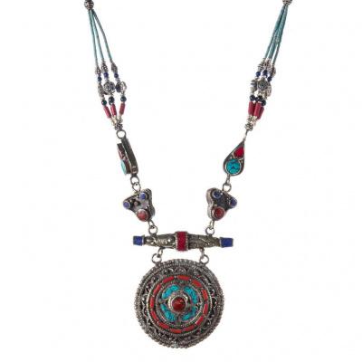 Collana Etnica con Turchese, Corallo e Argento Tibetano