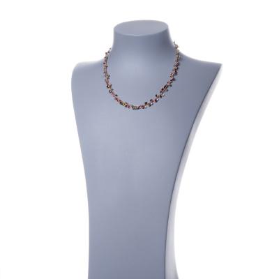 Collana a Catenella in Argento 925 Rosa e Zirconi Multicolor