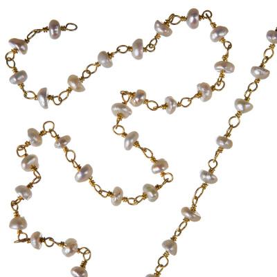 Catena in Perle di Acqua Dolce e Argento 925 dorato - Rosario - 20 cm.