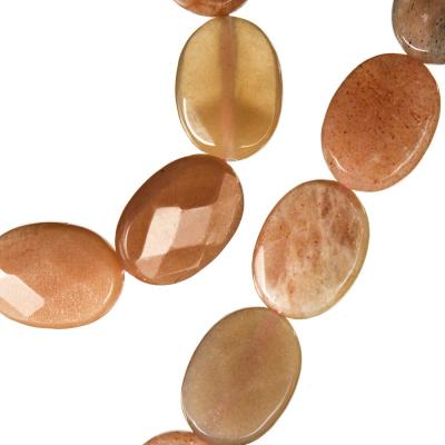 Pietra di Sole - Filo di elementi ovali sfaccettati