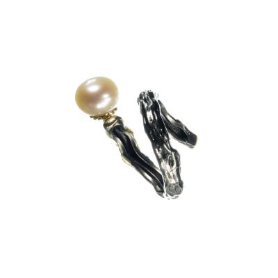 Anello con Ciondolo Perla su Argento 925 Nero e dorato
