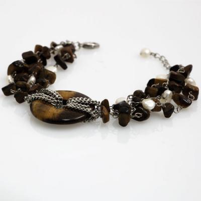 Bracciale Phi in Occhio di Tigre, Perle d'Acqua Dolce e Ag 925