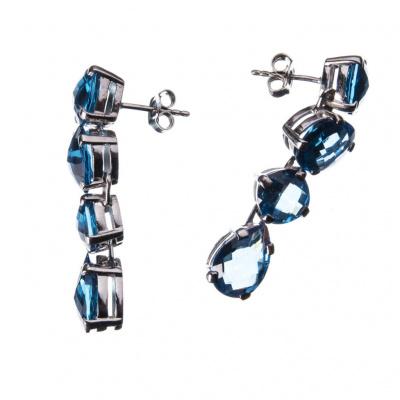 Orecchini 4 gemme di Topazio e Argento 925