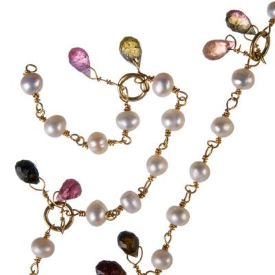 Catena in Perle di Acqua Dolce, Tormalina e Argento 925 dorato - Rosario - 20 cm.