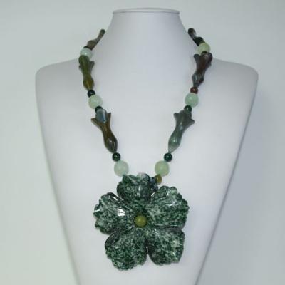 Collana Lunga in Giada, Avventurina Verde, Diaspro Orbicolare,Ag 925