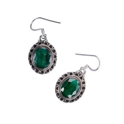 Orecchini cabochon ovale in Smeraldo e Argento 925