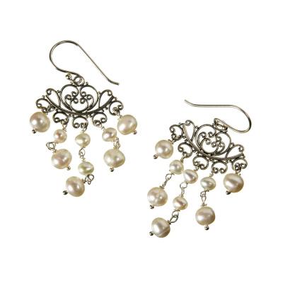 Orecchini Chandelier con Perle e Argento 925