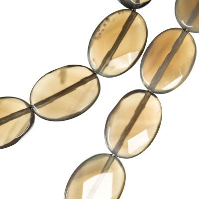Agata Naturale - filo di elementi ovali sfaccettati