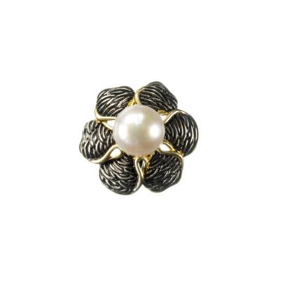 Ciondolo Fiore con Perla tonda e Argento 925