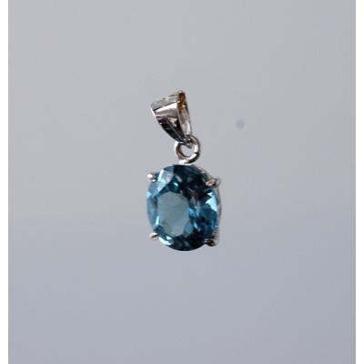 Ciondolo con Topazio Azzurro Sfaccettato in Argento 925
