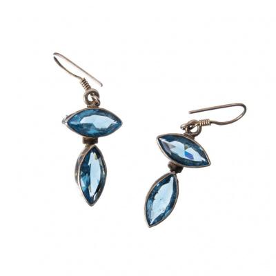 Orecchini 2 gemme di Topazio e Argento 925