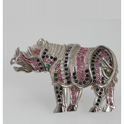 Spilla - Rinoceronte con Rubini,Zaffiri,Smeraldi e Ag 925 Rodiato