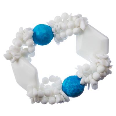 Bracciale elastico in Magnesite colorata e Onice Bianca