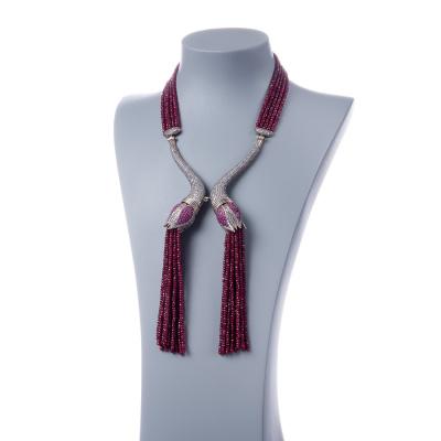 Collana di Rubini, Zirconi e Argento Tibetano