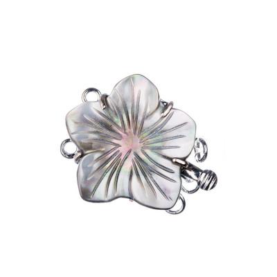 Chiusura motivo floreale di Madreperla a due fili color Argento 2.8x2.2 cm - 1 pz.