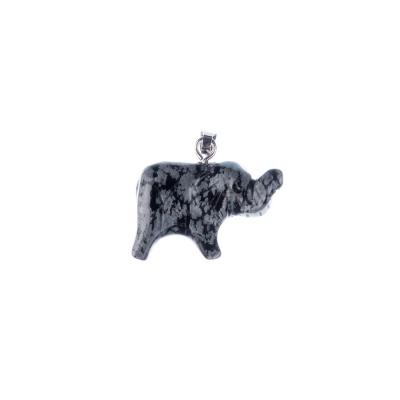 Ciondolo unisex con animale in Ossidiana Fiocco di Neve - Elefante