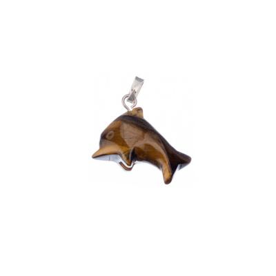 Ciondolo Unisex con animale in Occhio di Tigre - Delfino