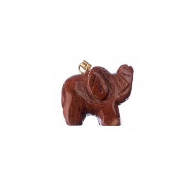 Ciondolo Unisex con animale in Diaspro Rosso - Elefante