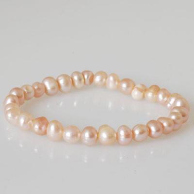 Bracciale Elastico di Perle rosa tonde