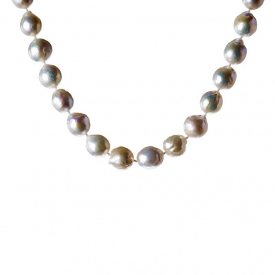 Collana di Perle Bianche Tonde e Argento 925