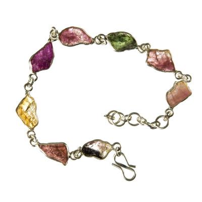 Bracciale in Tormalina Multicolor Grezza e Argento 925