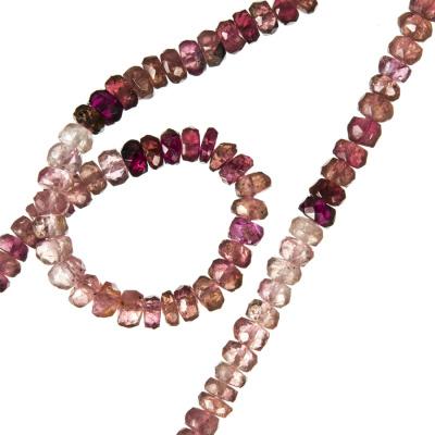 Tormalina Rosa - filo di rondelle sfaccettate